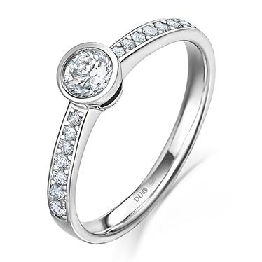 62563038e167 Anillo Oro blanco 18 Kt. Diamantes - 1011D - Joyería Dabra