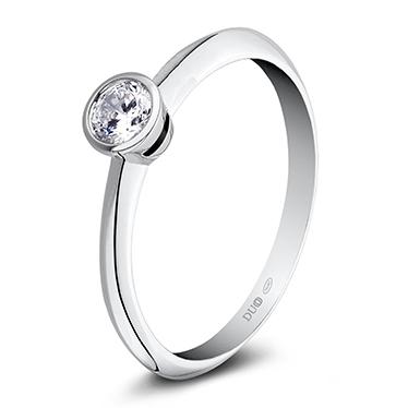 9a0827d3a187 Anillo Oro blanco 18 Kt. Diamante. 1010D - Joyería Dabra