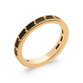 Anillo Plaque Oro 750. 5 Micras.  Agata Negra