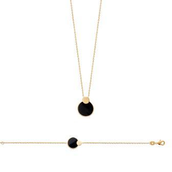 Collar Plaque Oro 750. 3 Micras. Agata Negra