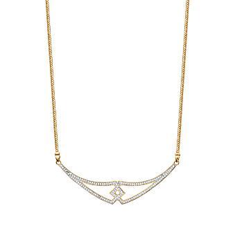 Collar Plaque Oro 750. 3 Micras. Bicolor Circonita.