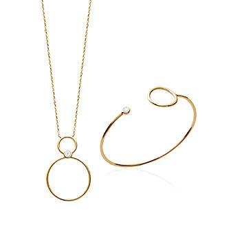 Collar Plaque Oro 750. 3 Micras. Circonita.